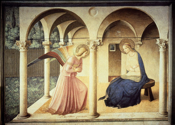 Fra Angelico annunciation at the top of stairs