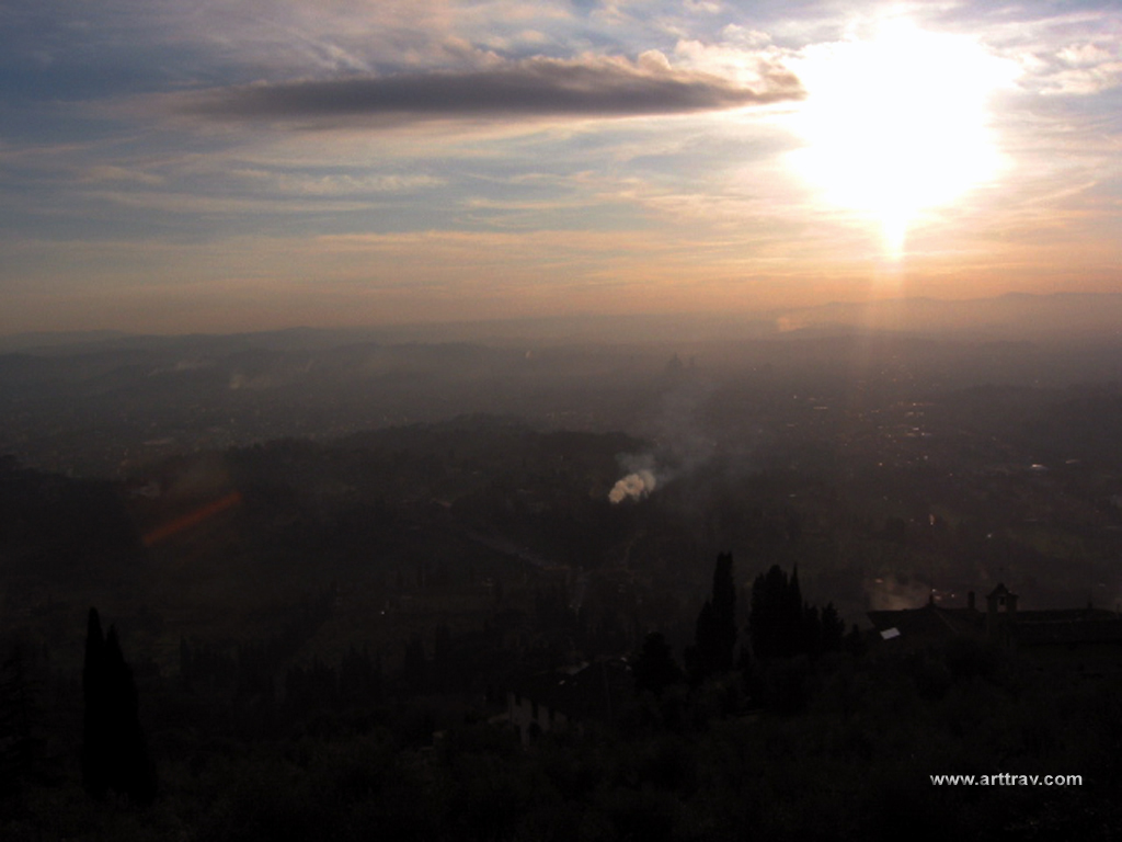 The view from Fiesole towards Florence at dusk in December.