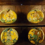 Montelupo ceramics on display in the parrot room
