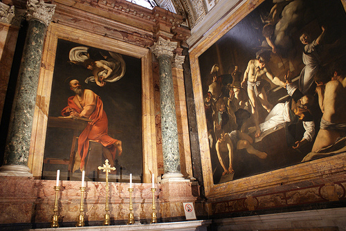 Caravaggio in the Contarelli Chapel; photo by flickr user p_medved