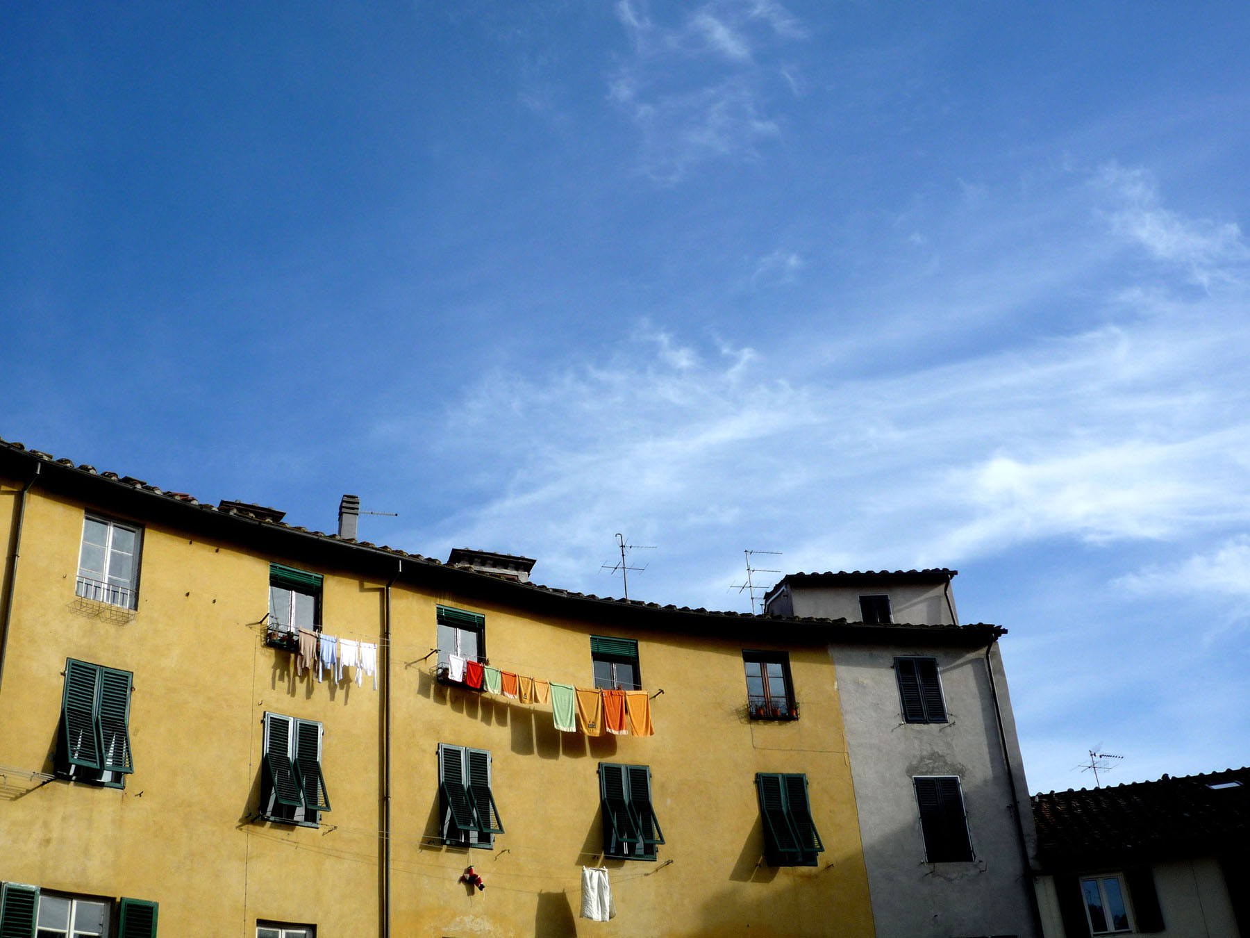 Laundry hanging in piazza dell'ampiteatro