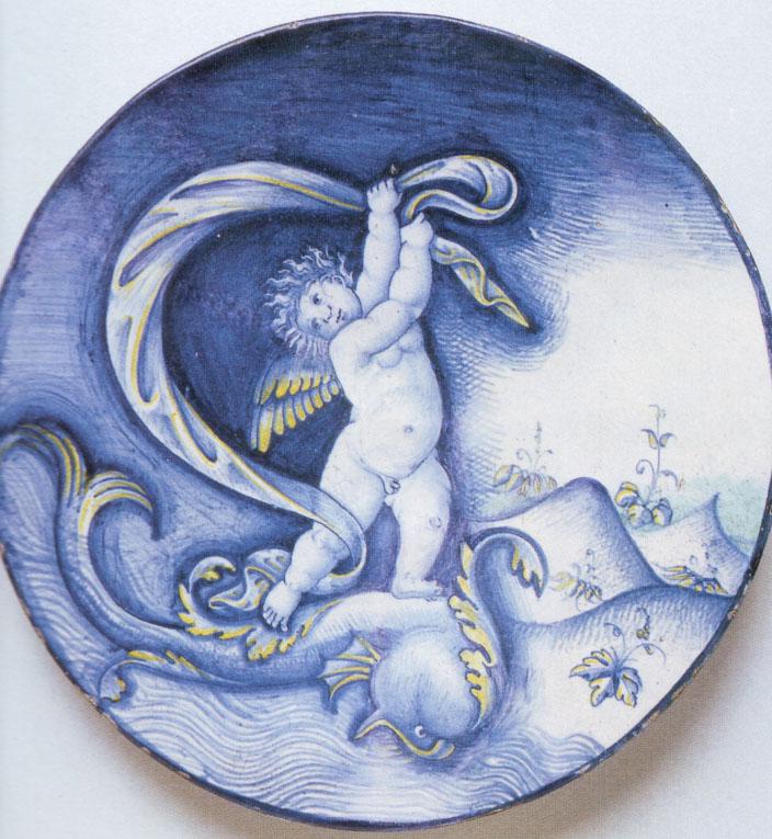 Deruta maiolica dish circa 1520 after Raphael