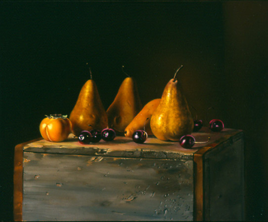 "WP, ""Pears and Cherries on Box"" is for sale (10x12, oil on panel)"