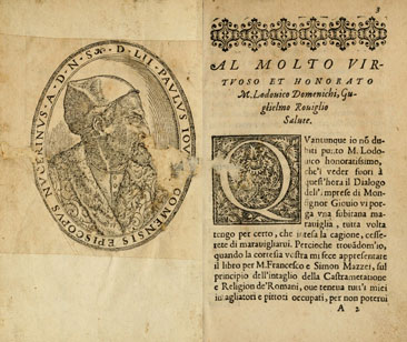 First pages of Giovio's 1574 Dialogo on the Internet Archive