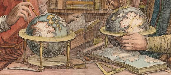 "Image borrowed from Princeton University Library: ""double portrait of Gerard Mercator and Jodocus Hondius"" 1636"