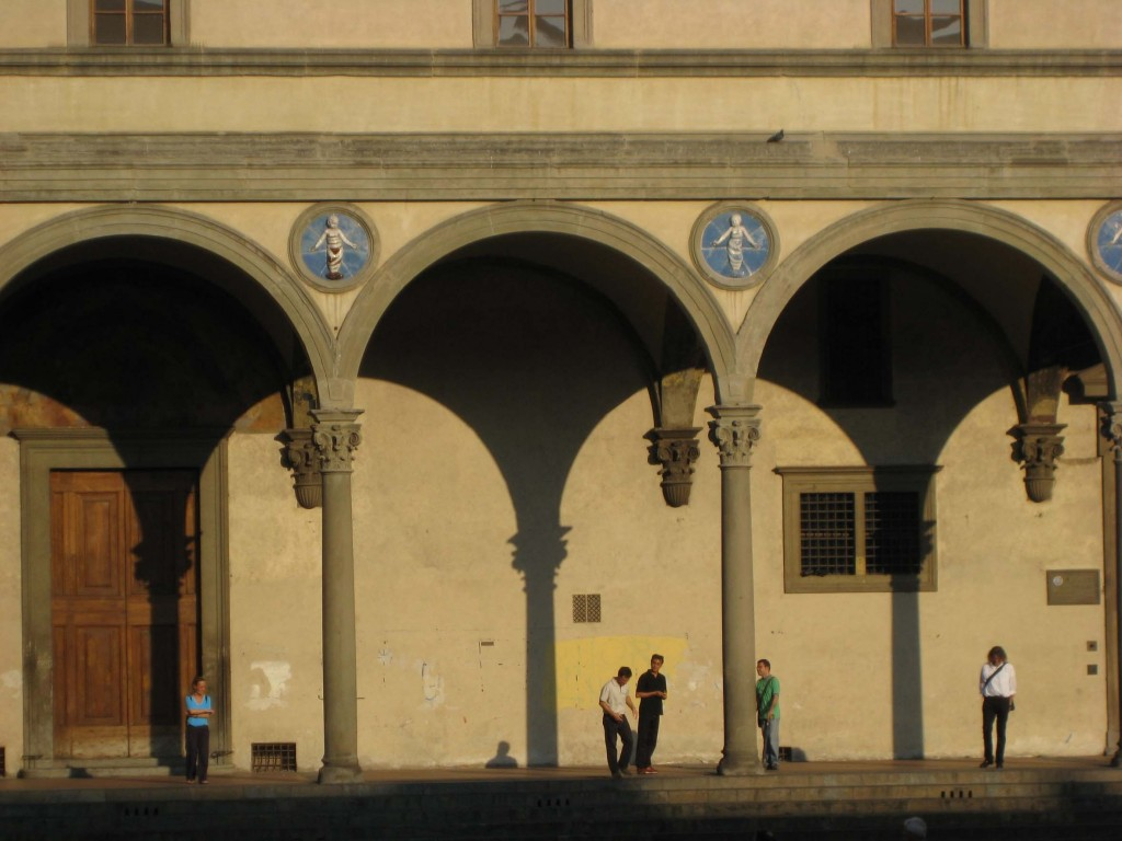 The piazza from underneath the church's loggia