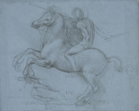 Leonardo, Study for the Sforza Monument, ca. 1488–1489, metalpoint on blue prepared paper, 5-7/8 x 7-3/4 inches, The Royal Collection © 2009 Her Majesty Queen Elizabeth II.