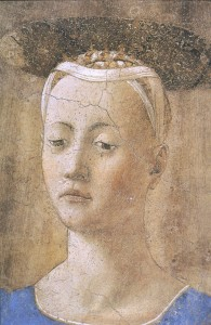Piero's Madonna del Parto: do you see a lump on her neck? I don't.