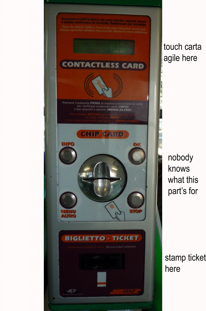 bus ticket validation machine in florence ATAF