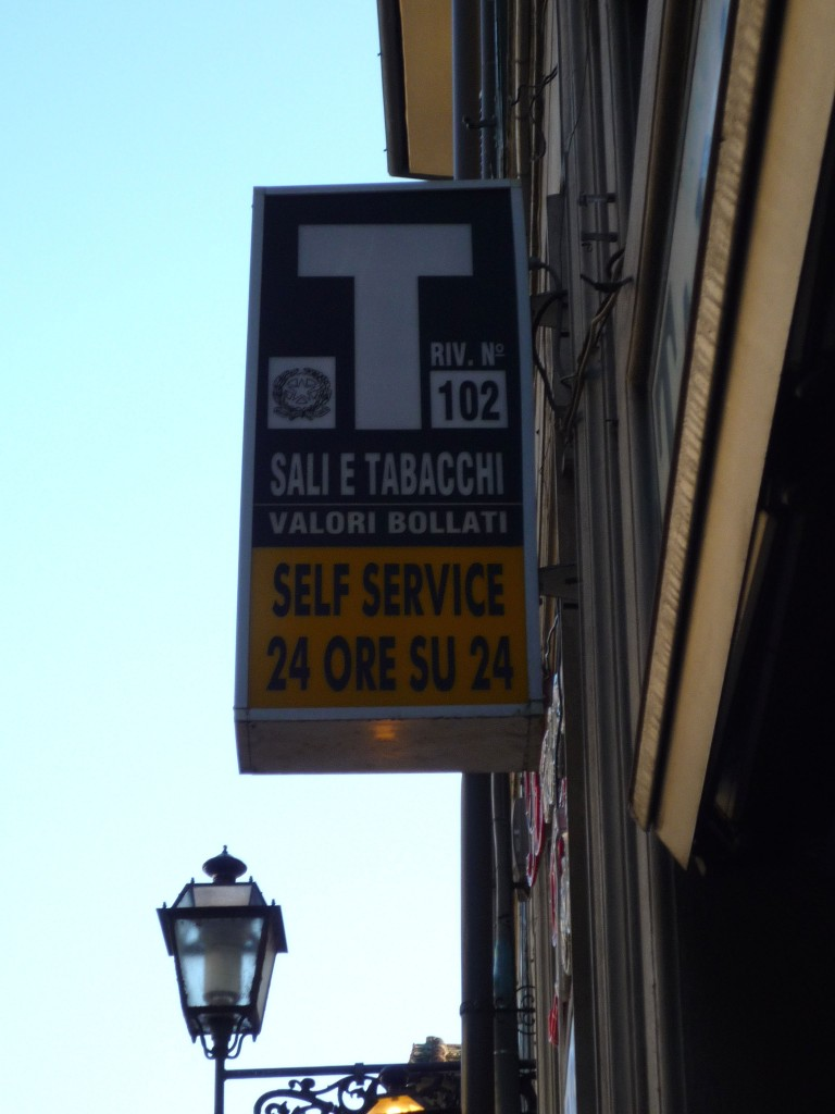 Tabacchi sell bus tickets, cigarettes, stamps, and lottery.