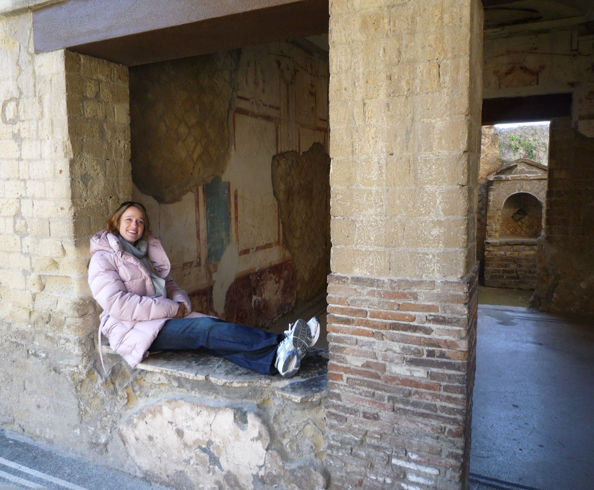 Off a courtyard into a bedroom in one of the Roman houses. That's me looking thin and lovely.