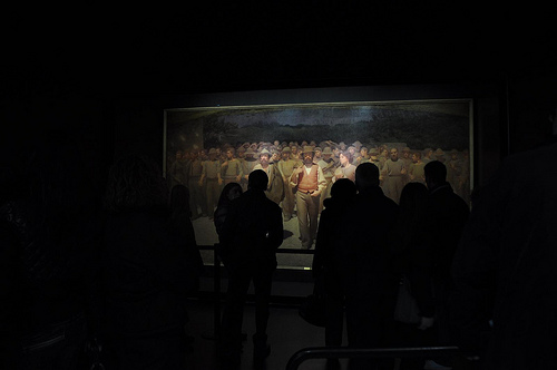 Pellizza da Volpedo's Quarto Stato, one of the collection's masterpieces, is impossible to approach due to crowds.