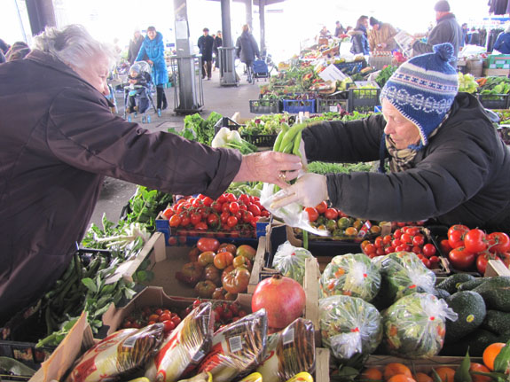 Gesture is an important part of communication at the market.