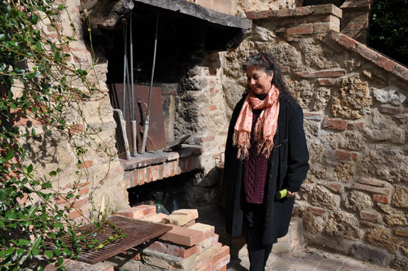 Pamela at home (with her outdoor hearth)