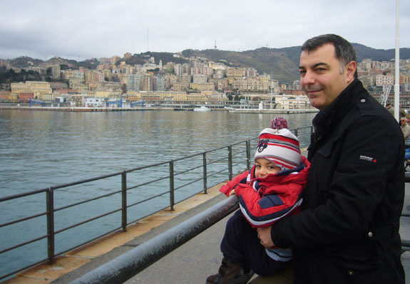 Francesco and daddy fabio at the port