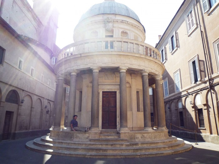 Bramante's Tempietto (with my husband in there for scale)