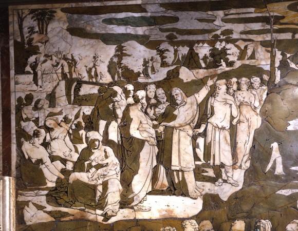 2 Domenico Beccafumi. Storie di Mosae sul Sinai, particolare Siena Duomo floor