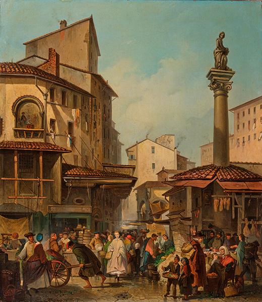 Giuseppe Moricci,  Il Mercato Vecchio di Firenze, 1860, Firenze, Galleria d'arte moderna