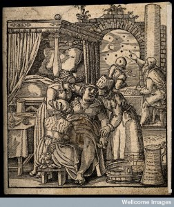V0014910 A seated woman giving birth aided by a midwife and two other Credit: Wellcome Library, London. Wellcome Images images@wellcome.ac.uk