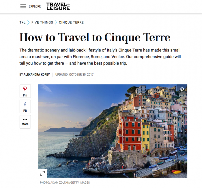 Contributed major article to Travel + Leisure