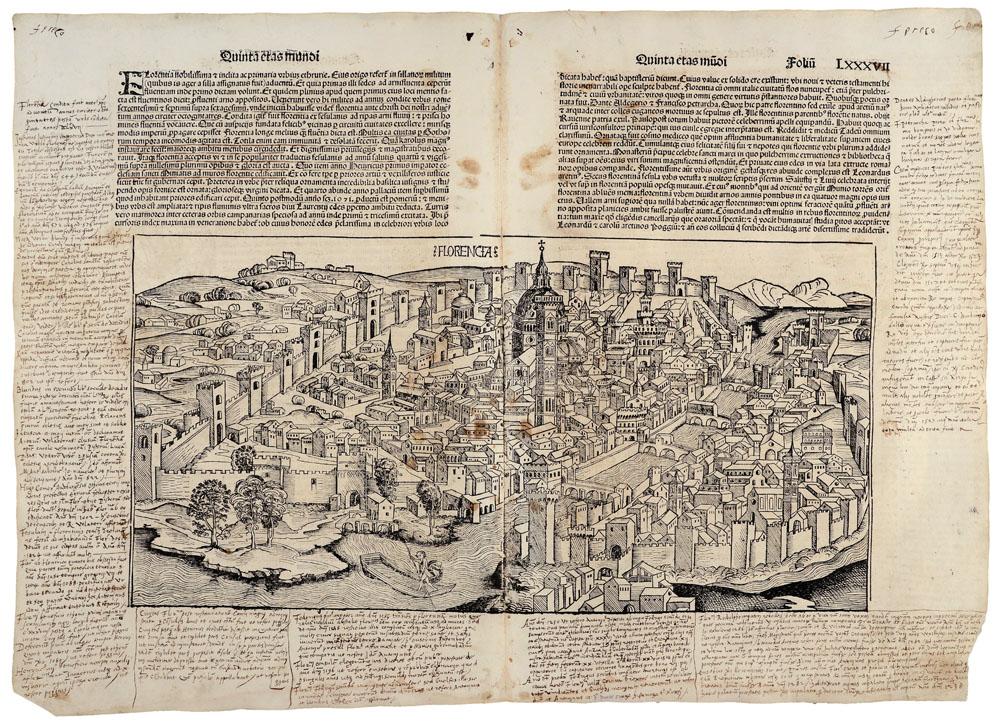 Michael Wolgemuth (Norimberga, 1434-1519) - Wilhelm Pleydenwurff (Norimberga, 1460 ca.-1494) View of the city of Florence Woodcut on paper Firenze, Biblioteca Nazionale Centrale