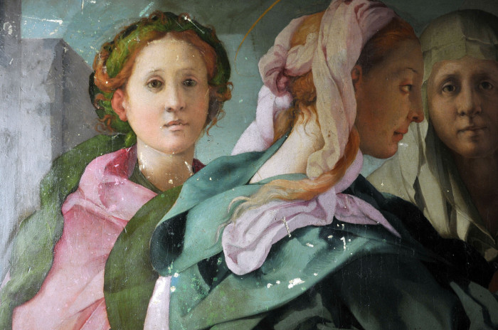 Pre-restauration detail of the Carmignano panel