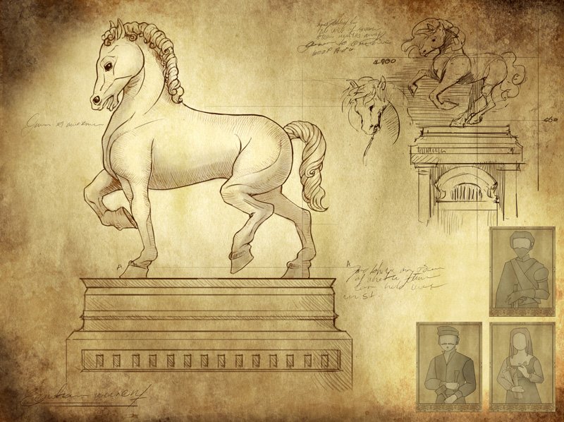 Equestrian monument card in Genio Game