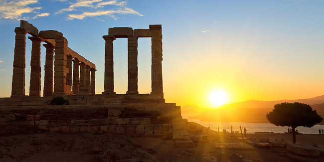 cape sounio dawn