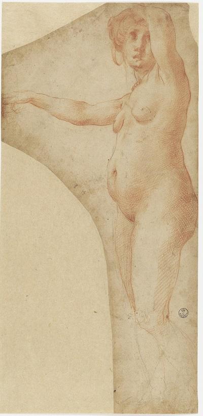 Rosso Fiorentino, drawing of a female nude (Uffizi)