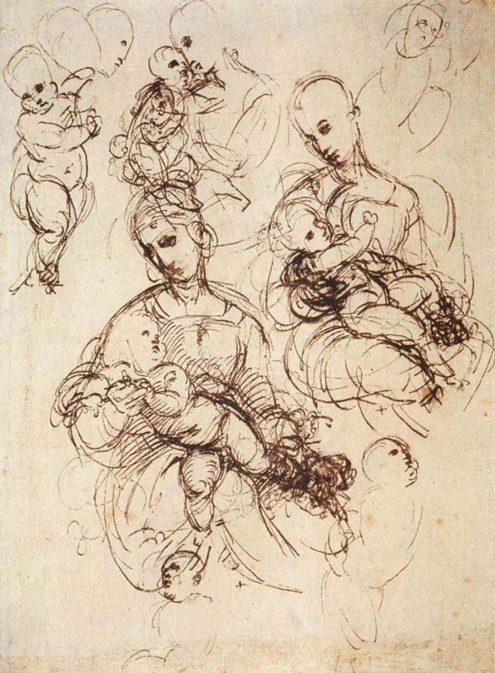 "Study for Madonna and Child (British Museum). Raphael's preparatory drawings show the research side of the ""perfect"" artist."