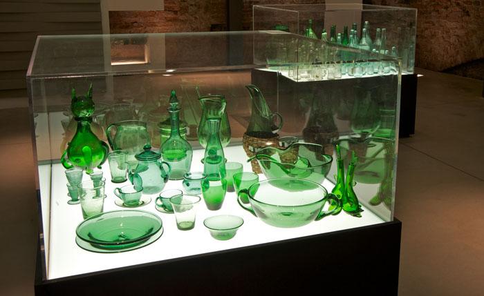Green glass kitchen ware