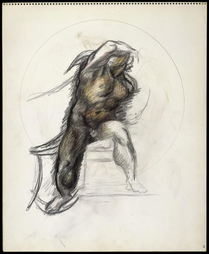 Untitled. Colored pencils and graphite on paper, ca. late 1937-39. H. 17, W. 13-3/4 inches (43.2 x 34.9 cm.). The Metropolitan Museum of Art, Purchase, Anonymous Gift, 1990 (1990.4.49)
