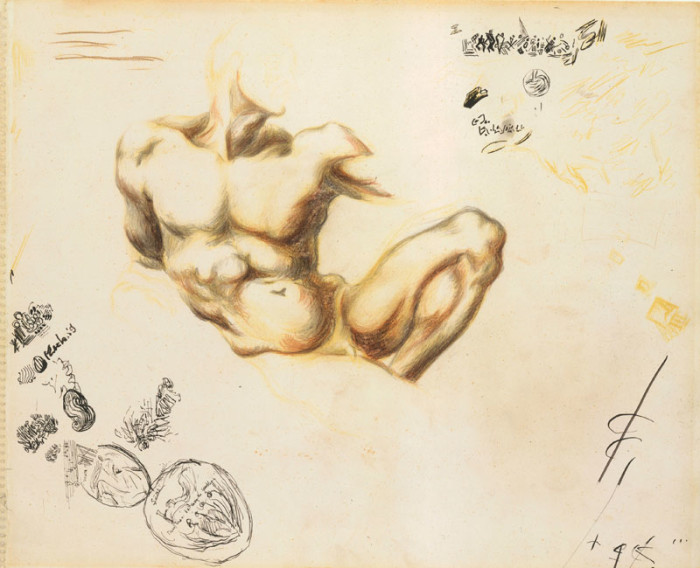 Untitled. Ca. late 1937-39. Recto. Colored pencils, graphite, and pen and India ink on paper, H. 13-3/4, W. 17 inches (34.9 x 43.2 cm.). Purchase, Anonymous Gift, 1990 (1990.4.27)