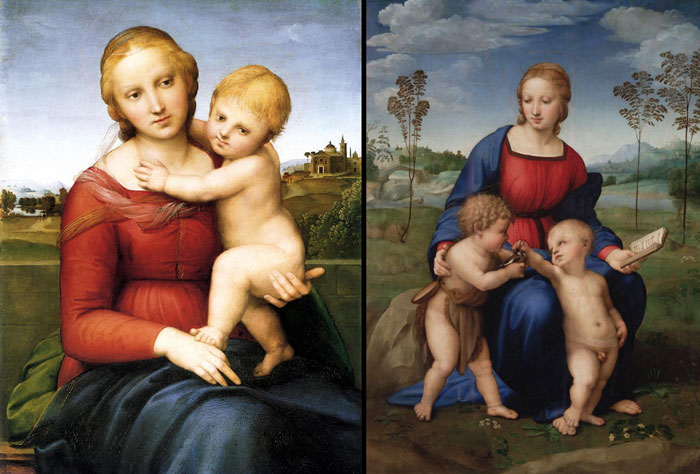 (L) Small Cowper Madonna, (R) Madonna of the Goldfinch