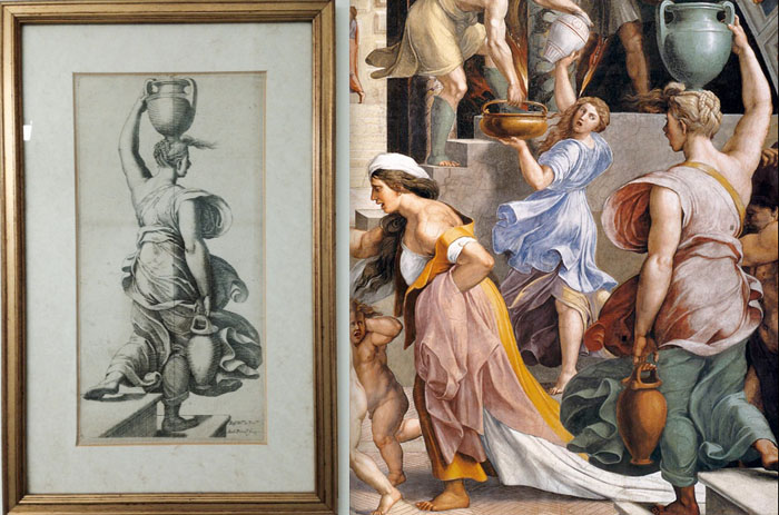 (L) Print, personal collection. (R) detail of Raphael, Fire in the Borgo
