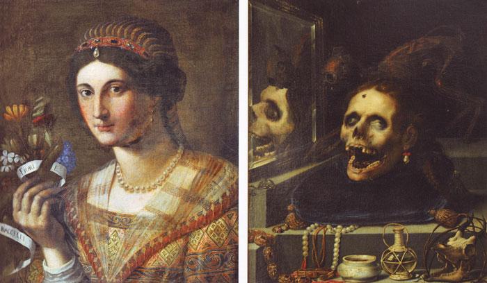 Female portrait and Natura Morta Macabra