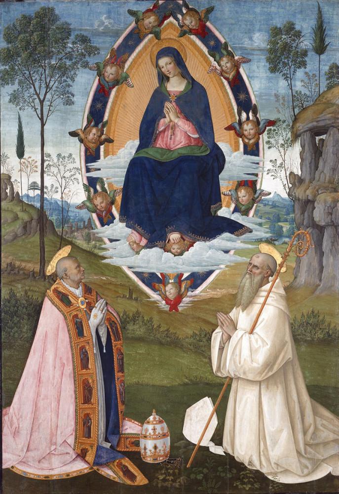 Pintoricchio, La Vergine Assunta tra i Santi Gregorio Magno e Benedetto - San Gimignano