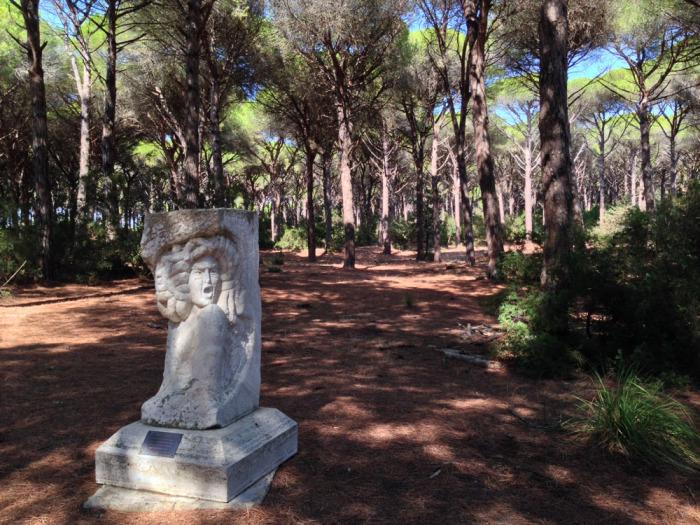 Monument to Caravaggio in Feniglia woods