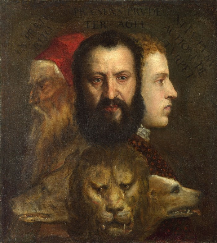 Titian (fl. c.1506-d.1576) & workshop, An allegory of prudence, c.1550-65, o/c, 75.5 x 68.4 cm. National Gallery, London. NG6376