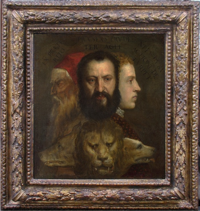 Titian & workshop, An allegory of prudence, in its present frame