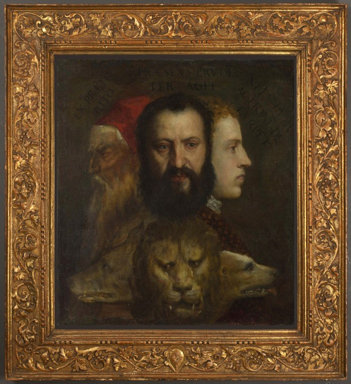 Titian & workshop, An allegory of prudence: a mock-up in the suggested new frame