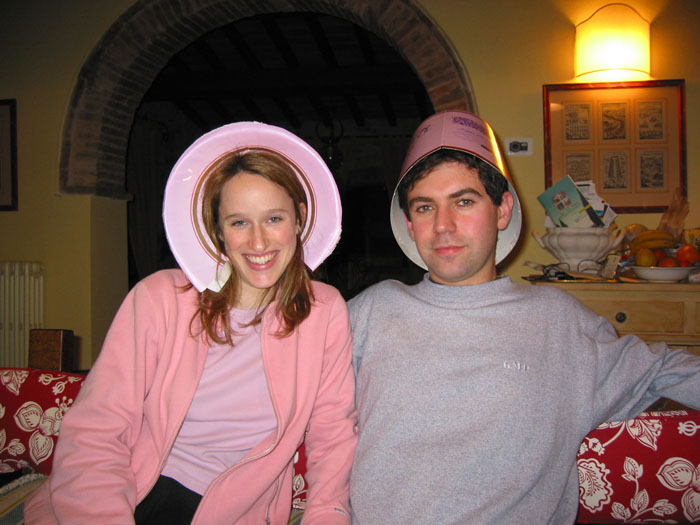New traditions: the box of pandoro makes a great hat, and its rim makes a halo. Tommy and I in 2002.