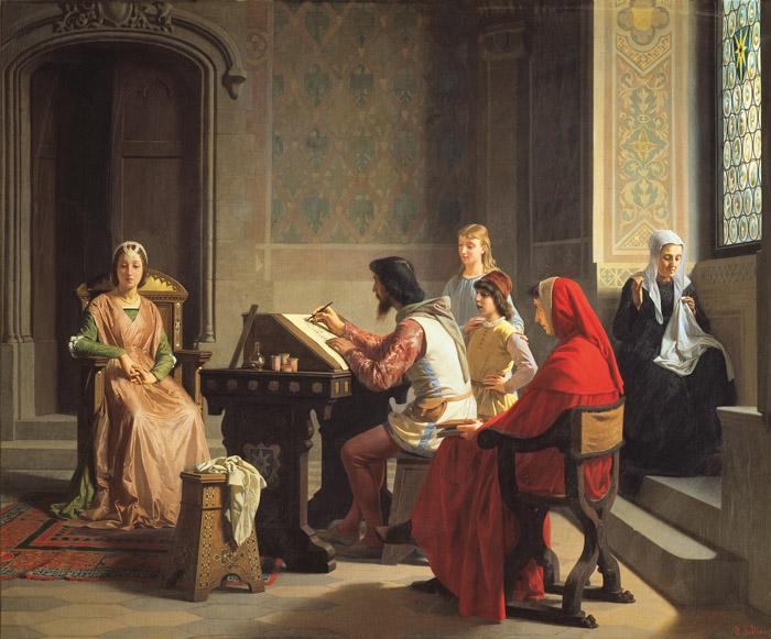 P. Saltini, Simon Memmi commissioned by Petrarch to portray Laura, 1863, Florence, Galleria Palatina di Palazzo Pitti
