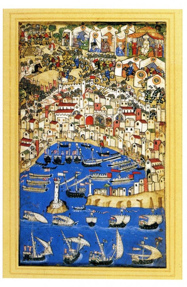Visione di un porto, pagina miniata dal Codice Cocarelli, nord Italia o Mar Nero, fine del XIV secolo, pergamena dipinta con acquarelli, Firenze, Museo Nazionale del Bargello