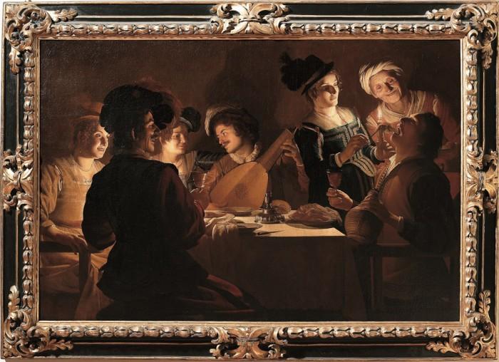 Gherardo delle Notti, Cena con suonatore di liuto, olio su tela, Firenze,Galleria degli Uffizi