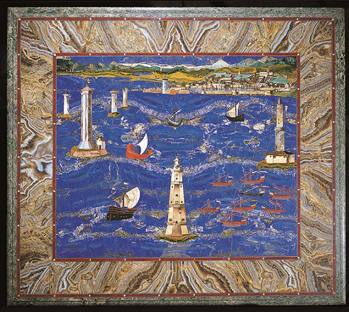 Grand ducal manufacture (Cristofano Gaffurri to a design by Jacopo Ligozzi), Table top with a view of the port of Leghorn, 1601–4, semi-precious stone inlay, Florence, Uffizi Gallery