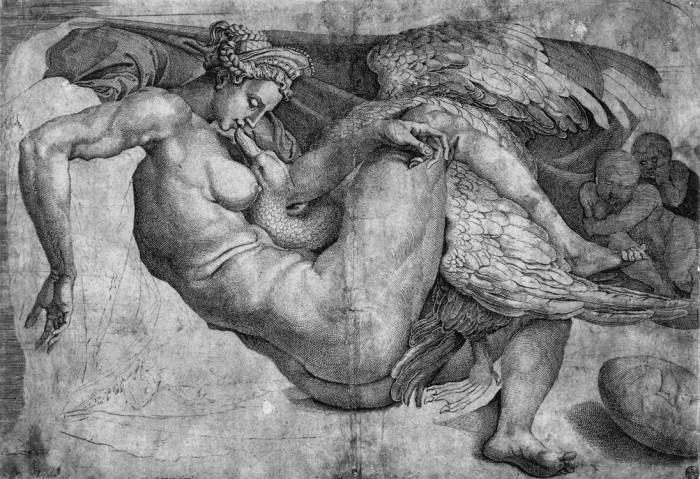 Cornelis Bos after Michelangelo, drawing, Leda and the Swan
