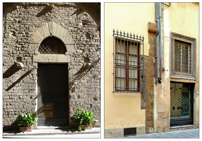Left: Rigaletti family tower on Via Lambertesca, readily identifiable from its classic tall archway. Right: In Via di Santo Spirito a large stone corbel (which forces a drainpipe to make a sharp detour) is the only clue to tell you this building was once a tower.