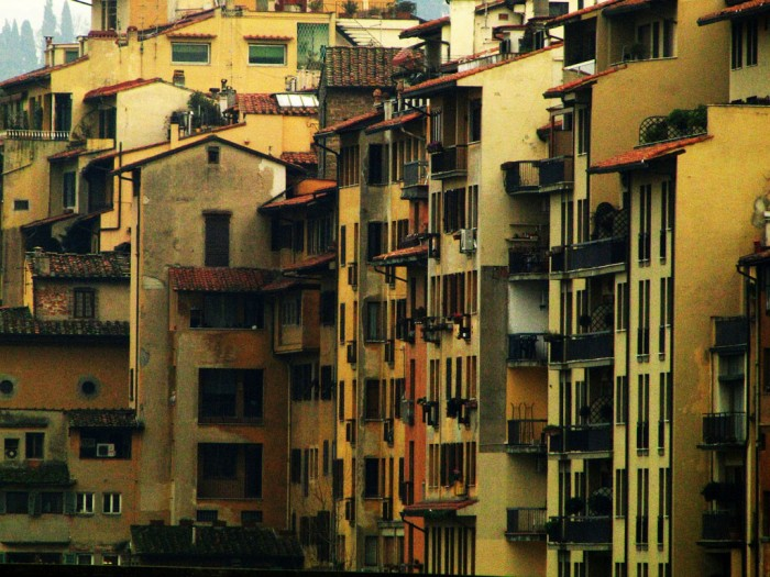 The back view of a typical apartment block in Le Cure, Florence