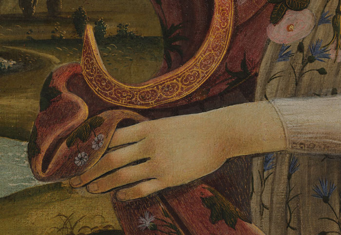 Hand of Flora in Botticelli's Birth of Venus, zoomed in on Google Art Project